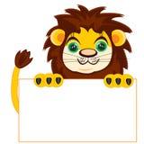 Leeuw met affiche Stock Foto