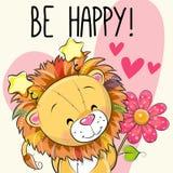 Leeuw met harten en een bloem stock illustratie
