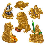 Leeuw, slang, Poseidon en andere symbolen van verering royalty-vrije illustratie