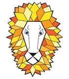 Leeuw vectorhoofd op witte achtergrond Stock Afbeelding