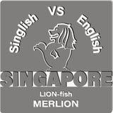 Leeuw-vissen MERLION Singapore stock illustratie