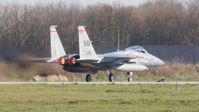 LEEUWARDEN, DIE NIEDERLANDE - 11. APRIL 2016: US-Luftwaffe F-15 Eagl Stockbild