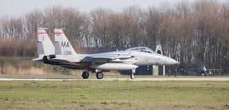 LEEUWARDEN, DIE NIEDERLANDE - 11. APRIL 2016: US-Luftwaffe F-15 Eagl Lizenzfreie Stockfotografie