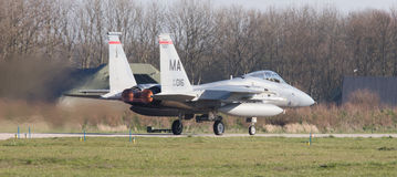 LEEUWARDEN, DIE NIEDERLANDE - 11. APRIL 2016: US-Luftwaffe F-15 Eagl Stockfotos