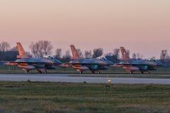 Leeuwarden Februari 6 2018: Övning för nattflyg Royaltyfri Bild