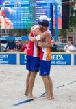 Leeuwarden Nederländerna - Juni 10: Holländskt beachvolleylag du royaltyfria foton