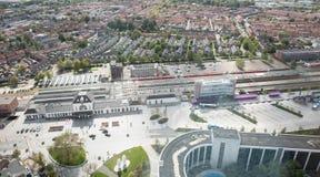 Leeuwarden, Nederland, 1 september, 2018 - Satellietbeeld ove royalty-vrije stock foto's