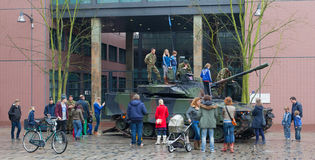 Leeuwarden, The Netherlands - april 6: Civilians can for once se. E and climb a dutch Combat Vehicle 90 in the city of Leeuwarden on April 6, 2014 Stock Photography