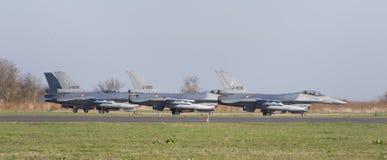 LEEUWARDEN, NETHERLANDS - APRIL 11, 2016: A dutch F-16 on the gr Stock Photo