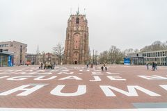 Leeuwarden, The Netherlands, april 14 2018, People visiting the. Famous sagged Oldenhove tower Stock Images