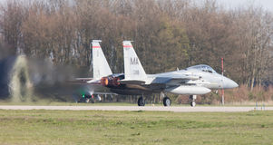 LEEUWARDEN, NETHERLANDS - APRIL 11, 2016: US Air Force F-15 Eagl Royalty Free Stock Photo