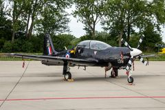 RAF Short Tucano two-seat turboprop basic trainer. LEEUWARDEN, NETHERLANDS - JUN 10, 2016: British Royal Air Force Short Tucano two-seat turboprop basic trainer Royalty Free Stock Photos