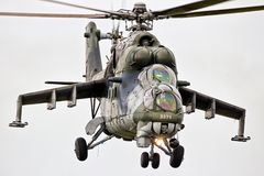 Mi-24 Hind military attack helicopter. LEEUWARDEN, NETHERLANDS - JUN 10, 2016: Czech Republic Air Force Mi-24 Hind military attack helicopter in flight royalty free stock images
