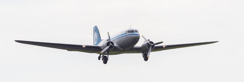 LEEUWARDEN, THE NETHERLANDS - JUNE 11, 2016: Dakota (DC-3) PH-PB. A during a demonstration at the Royal Netherlands Air Force Days royalty free stock photos