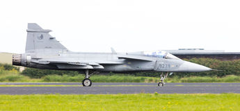 LEEUWARDEN, THE NETHERLANDS-JUNE 10: Modern tactical fighter jet Royalty Free Stock Photos