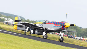 LEEUWARDEN, THE NETHERLANDS - JUNE 10: P51 Mustang displaying at Stock Photos