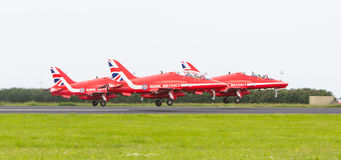 LEEUWARDEN, THE NETHERLANDS - JUNE 10, 2016: RAF Red Arrows perf Royalty Free Stock Image