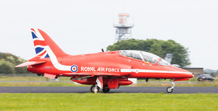 LEEUWARDEN, THE NETHERLANDS - JUNE 10, 2016: RAF Red Arrows perf Royalty Free Stock Photo
