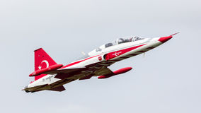 LEEUWARDEN, THE NETHERLANDS - JUNE 10, 2016: Turkish Air Force D. Emonstration Team Turkish Stars at the Royal Netherlands Air Force Days royalty free stock images