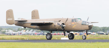 LEEUWARDEN, THE NETHERLANDS - JUNE 10: WW2 B-25 Mitchell bomber Royalty Free Stock Photography