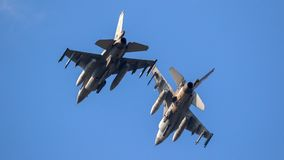 Military fighter jets in flight royalty free stock image