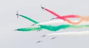 LEEUWARDEN NETHERLANDSEN-JUNE 11, 2016: Italienskt aerobatic te Arkivbild