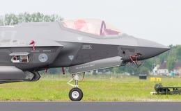 LEEUWARDEN, PAYS-BAS - 11 JUIN 2016 : Plan rapproché du nouveau F-3 Image stock