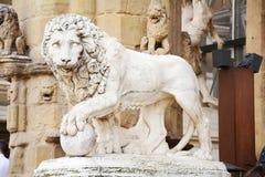 Leeuwbeeldhouwwerk, Florence, Italië Stock Foto's