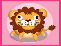 Leeuwbeeldverhaal Grappig beeldverhaal en vector dierlijke karakters Stock Afbeeldingen
