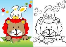 Leeuwbeeldverhaal met wit konijntje vector illustratie