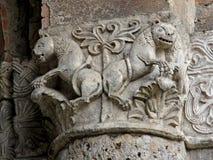 Leeuwen en palm Stock Afbeeldingen