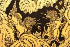 Leeuwen in het traditionele Thaise stijl schilderen Stock Afbeelding