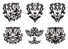 Leeuwhart en elementen van het Wolfshoofd en leeuwhoofd Royalty-vrije Stock Foto
