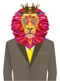 Leeuwhoofd in geometrisch patroon met sterlijn royalty-vrije illustratie