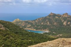 Leeuwrots van Roccapina, het eiland van Corsica stock afbeelding