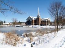 Leffler教堂在冬天 库存图片