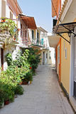 Lefkada Alley. A narrow street in the island town of Lefkada, Greece stock photography