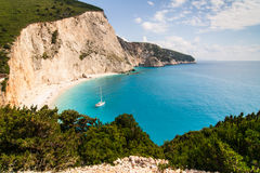 Lefkada beach. View from the cliffs to Lefkada beach, Greece, Europe royalty free stock image