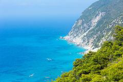 Lefkada coast beach (Greece). Beautiful summer Lefkada coast beach (Greece, Ionian Sea)  view from up Royalty Free Stock Photography