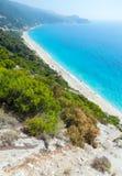 Lefkada coast beach (Greece). Beautiful summer Lefkada coast beach (Greece, Ionian Sea)  view from up Stock Images