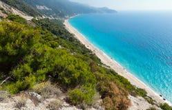 Lefkada coast beach (Greece). Beautiful summer Lefkada coast beach (Greece, Ionian Sea)  view from up Royalty Free Stock Photos