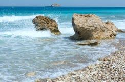 Lefkada coast summer beach (Greece). Beautiful summer Lefkada coast stony beach (Greece, Ionian Sea Stock Images