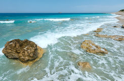 Lefkada coast summer beach (Greece). Beautiful summer Lefkada coast stony beach (Greece, Ionian Sea Stock Image