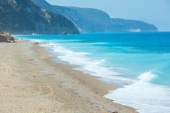 Lefkada coast summer beach (Greece). Beautiful summer Lefkada coast stony beach (Greece, Ionian Sea Royalty Free Stock Photo