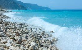Lefkada coast summer beach (Greece). Beautiful summer Lefkada coast stony beach (Greece, Ionian Sea Royalty Free Stock Photos