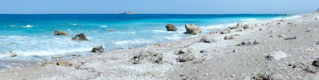 Lefkada coast summer beach panorama (Greece) Royalty Free Stock Photos