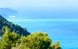Lefkada coast  view (Greece). Beautiful summer Lefkada coast  (Greece, Ionian Sea)  view from up Royalty Free Stock Images