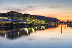 Lefkada. Coffee shops and restaurants in the harbour of Lefkada town, Greece stock photography