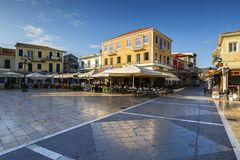 Lefkada. Coffee shops and restaurants in the main square of Lefkada town, Greece royalty free stock images