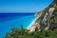 Lefkada Egremn plaża, Grecja fotografia stock